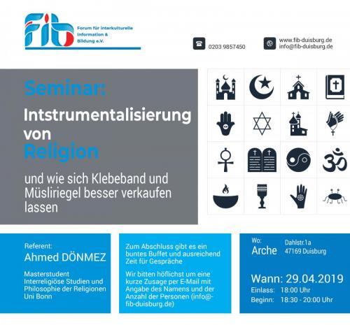 Seminar Instrumentalisierung von Religion 29.04.2019