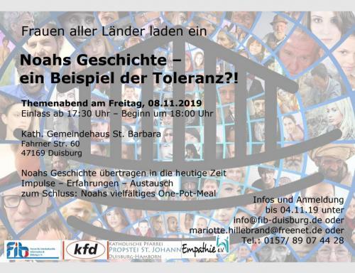 Noahs Geschichte- ein Beispiel der Toleranz?! 08.11.2019